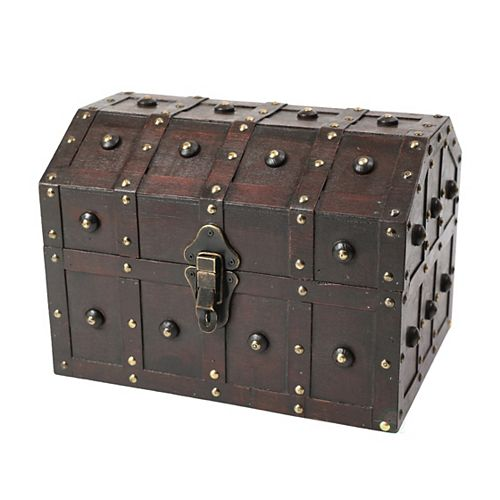 Black Vintage Caribbean Pirate Chest with Decorative Nailed Design