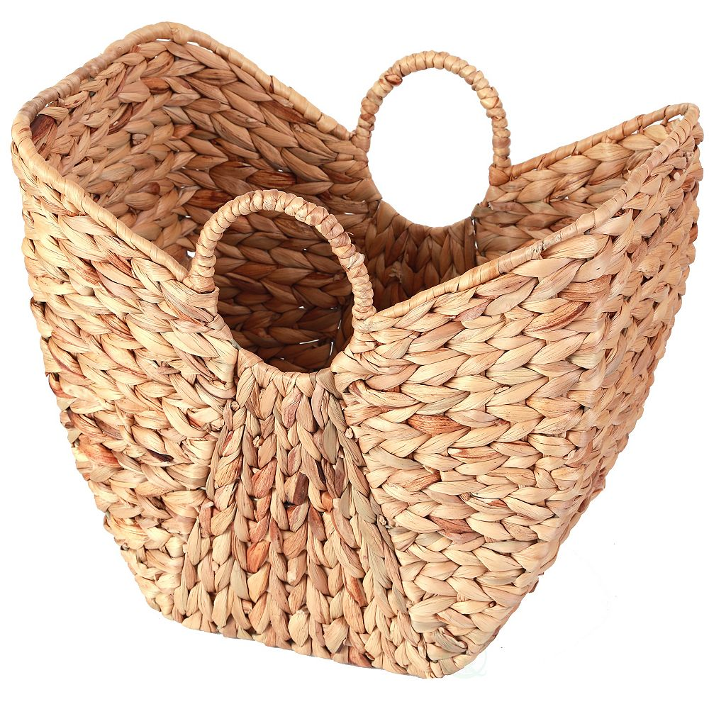 Vintiquewise Large Wicker Laundry Basket with Round Handles