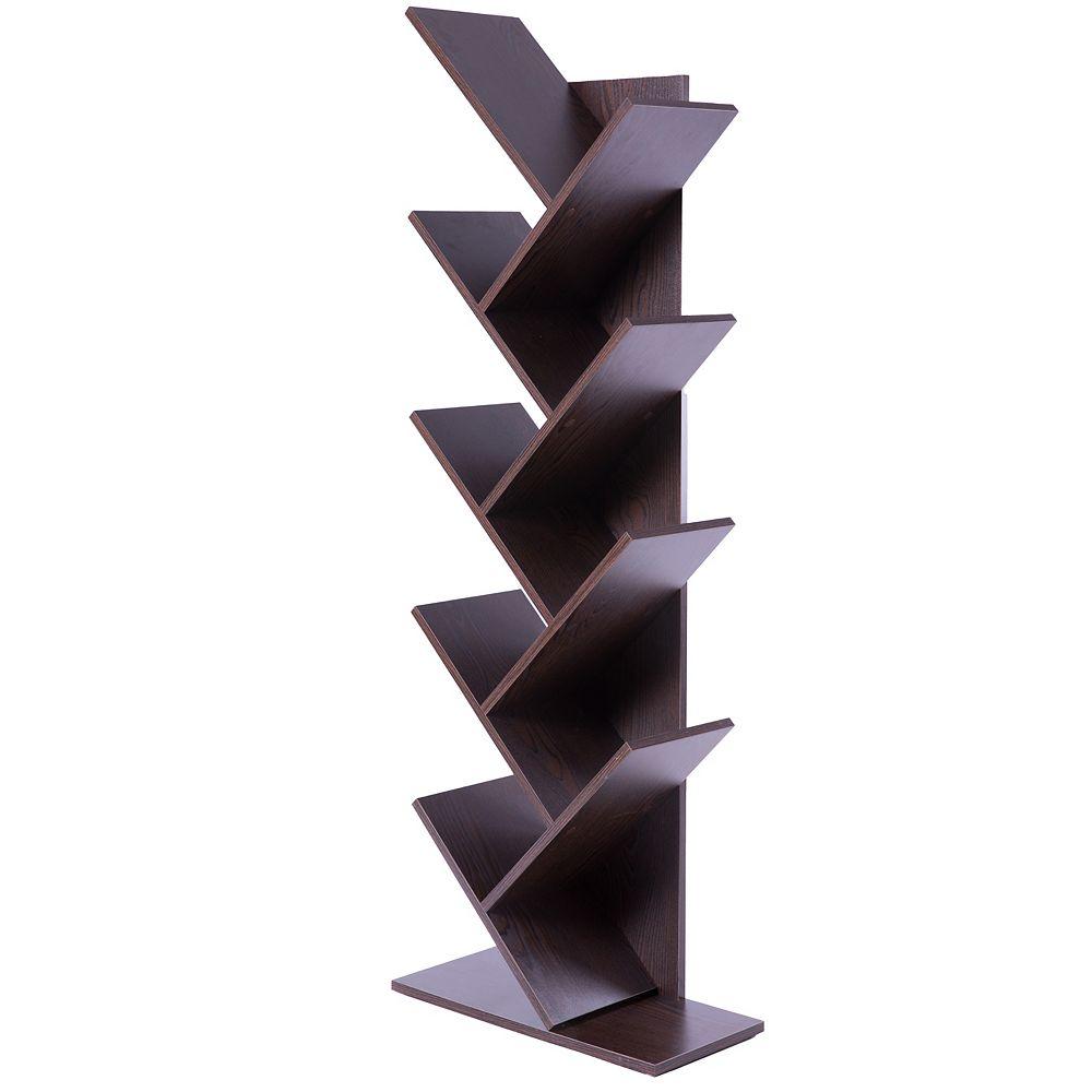 Basicwise Wooden 9-Shelf Tree Magazine CD Storage Bookcase, Brown