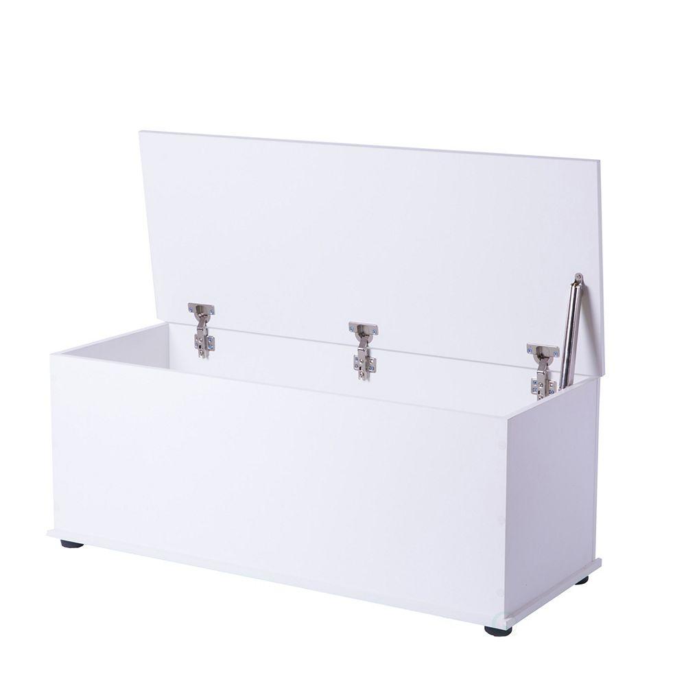 Basicwise Wooden Storage Organizing Toy Box, White
