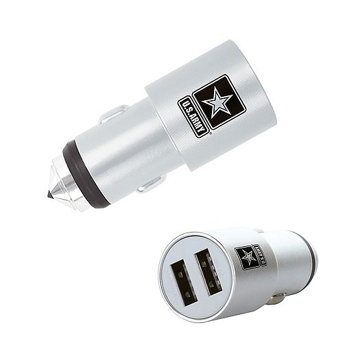 Dual USB Car Charger with Emergency Window Breaker