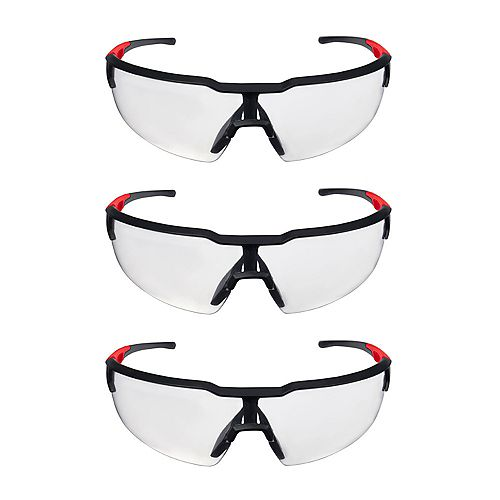 Safety Glasses with Clear Lenses (3-Pack)