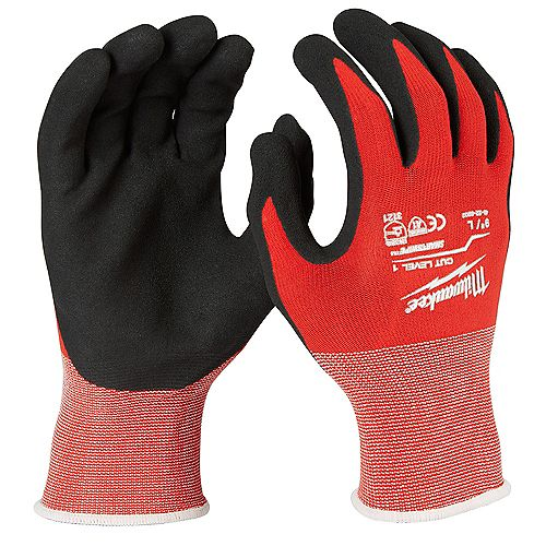 Milwaukee Tool Large Red Nitrile Level 1 Cut Resistant Dipped Work Gloves