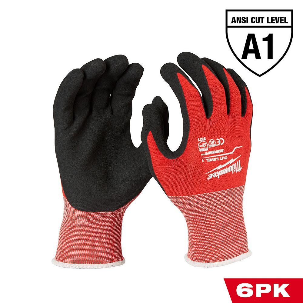 Milwaukee Tool Large Red Nitrile Level 1 Cut Resistant Dipped Work Gloves (6-Pack)