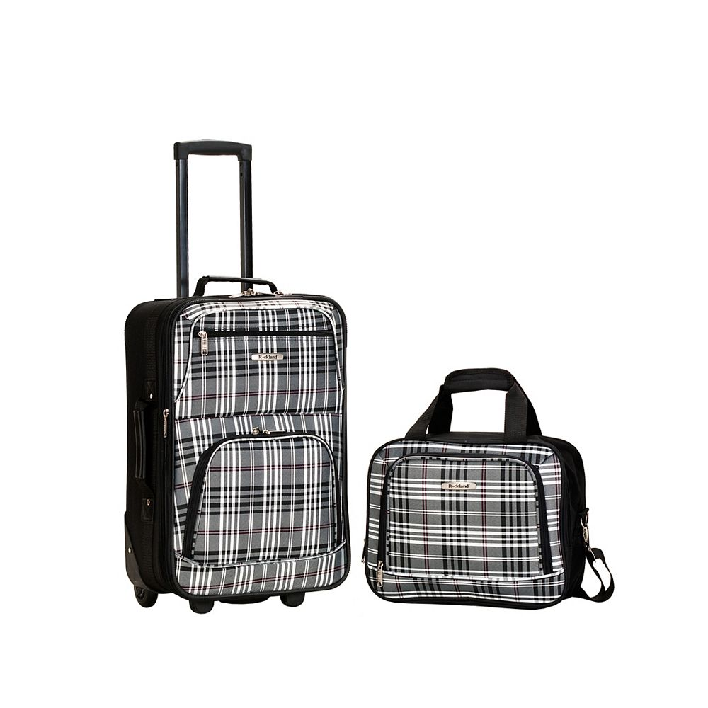 Rockland Rio Softside 2Pc Carry-on Luggage, Blackcross