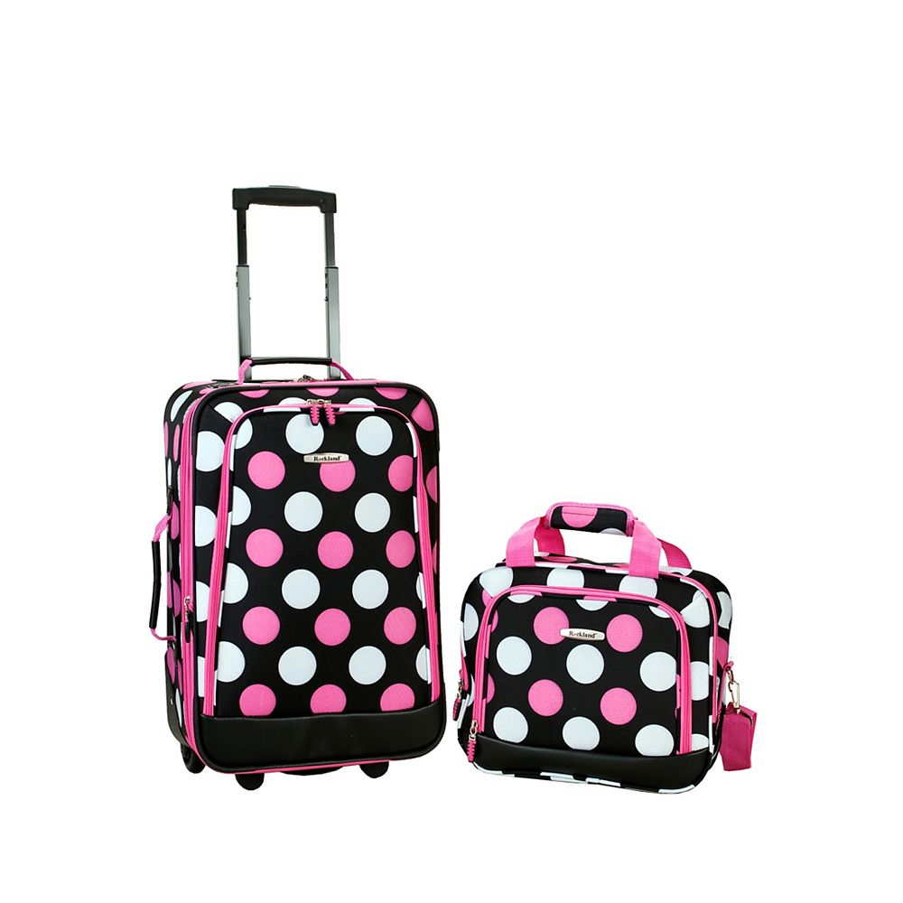 Rockland Rio Softside 2Pc Carry-on Luggage, Mulpinkdot