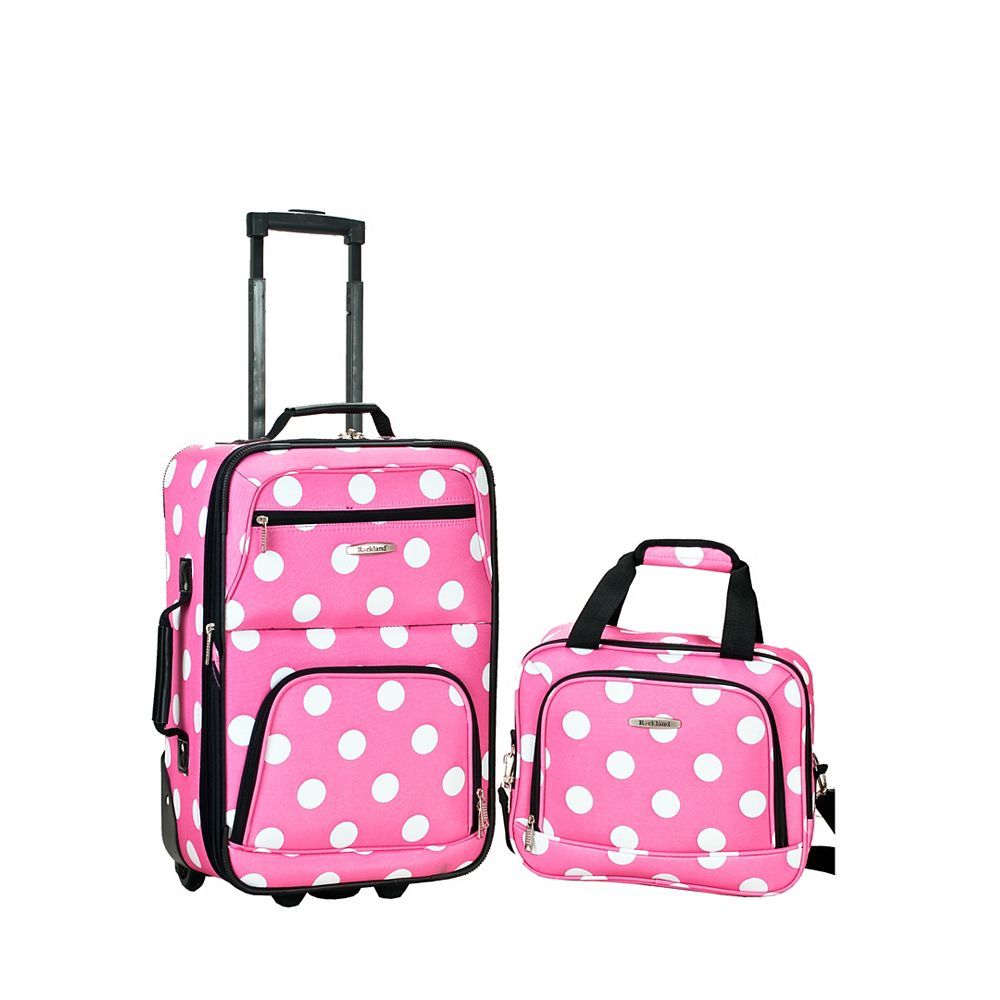 Rockland Rio Softside 2Pc Carry-on Luggage, Pinkdot