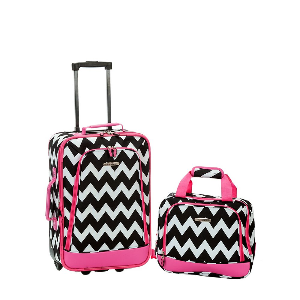 Rockland Rio Softside 2Pc Carry-on Luggage, Pinkchevron