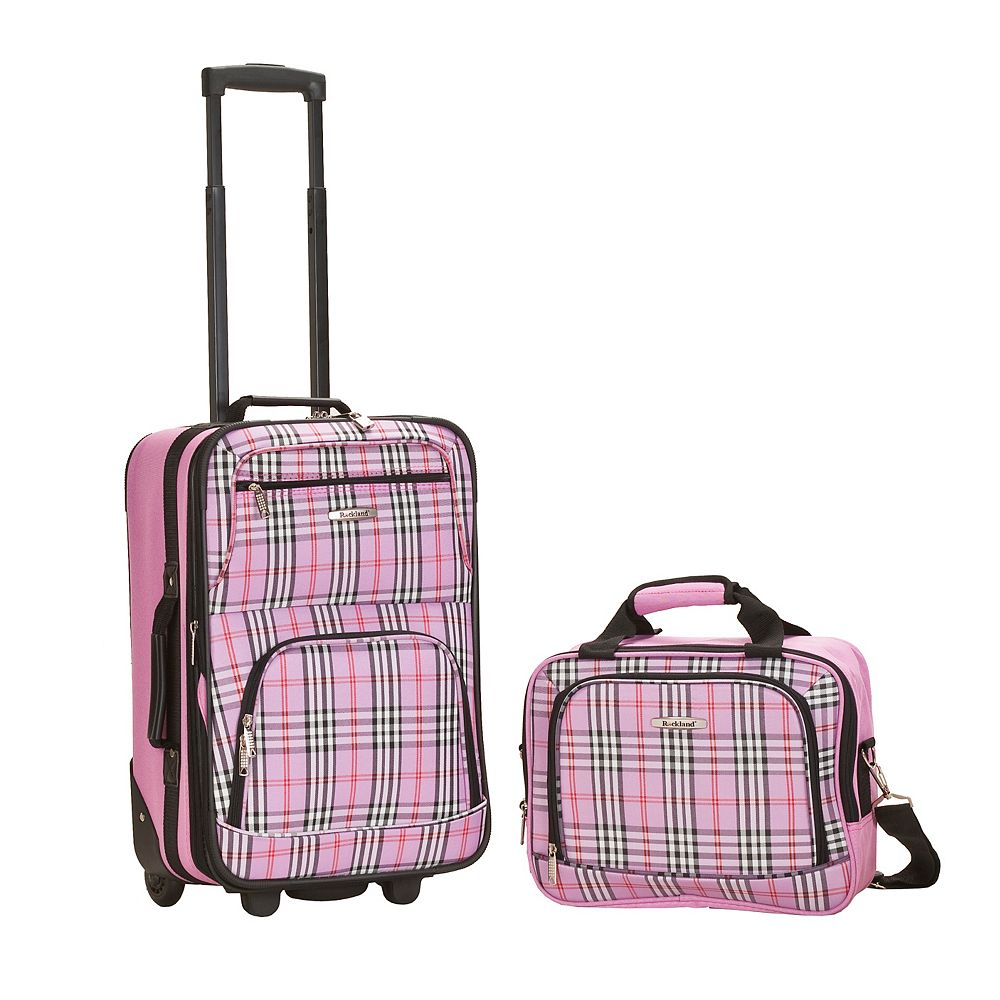 Rockland Rio Softside 2Pc Carry-on Luggage, Pinkcross