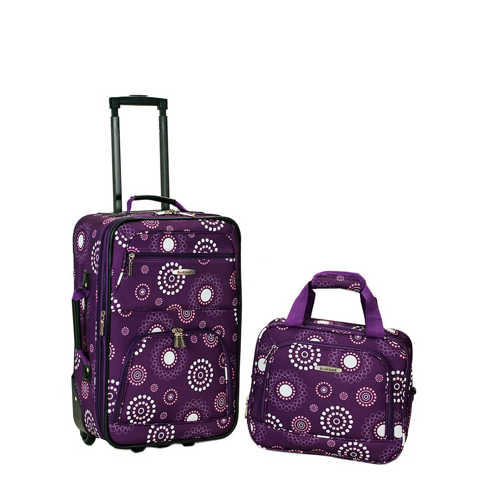 Rockland Rio Softside 2Pc Carry-on Luggage, Purplepearl