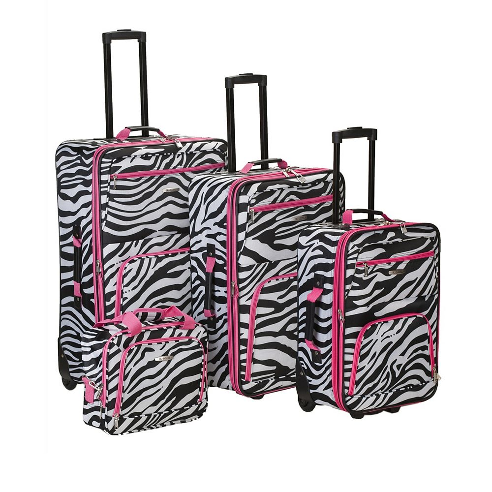 Rockland Deluxe Softside Luggage Set, Pinkzebra