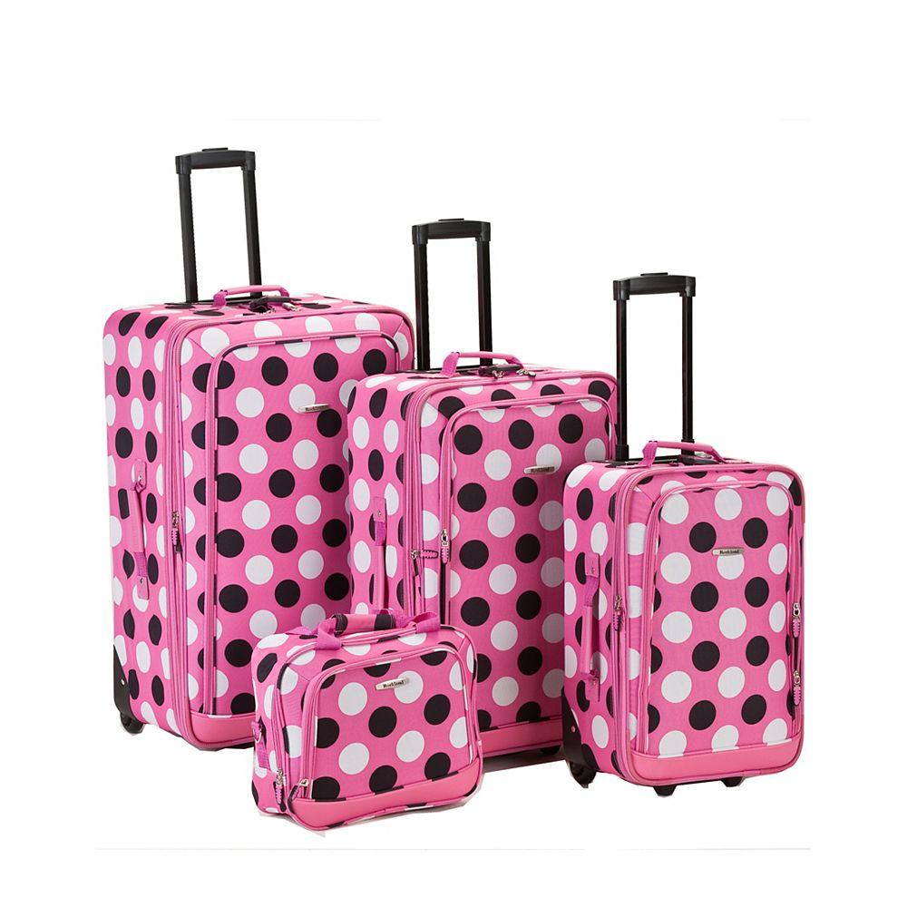 Rockland Deluxe Softside Luggage Set, Pinkdot