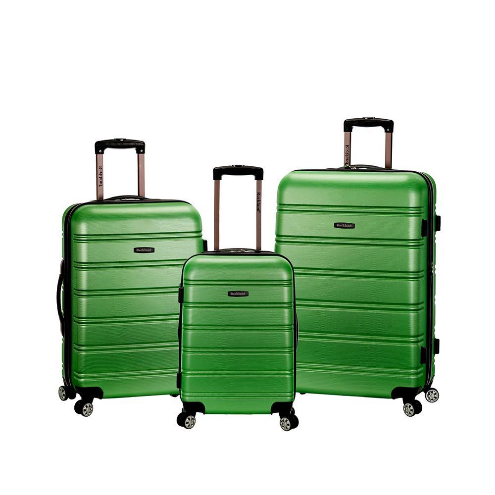 Rockland Melbourne Hardiside 3-Piece Luggage Set, Green