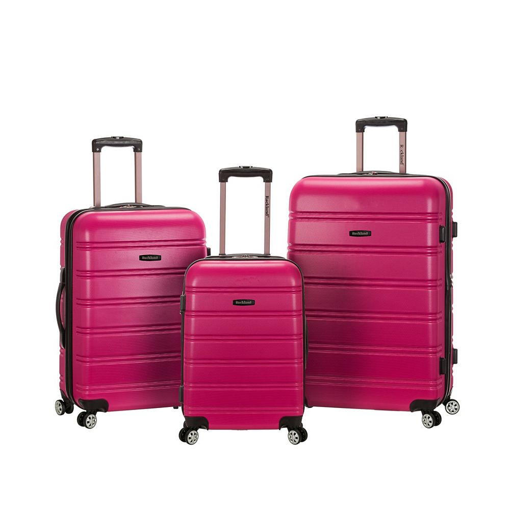 Rockland Melbourne Hardiside 3-Piece Luggage Set, Magenta