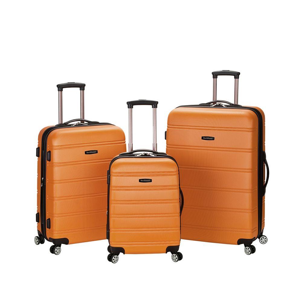 Rockland Melbourne Hardiside 3-Piece Luggage Set, Orange
