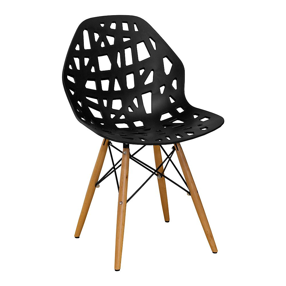 Mod Made Stencil Cut Out Eiffel Side Chair (Set of 2) Black