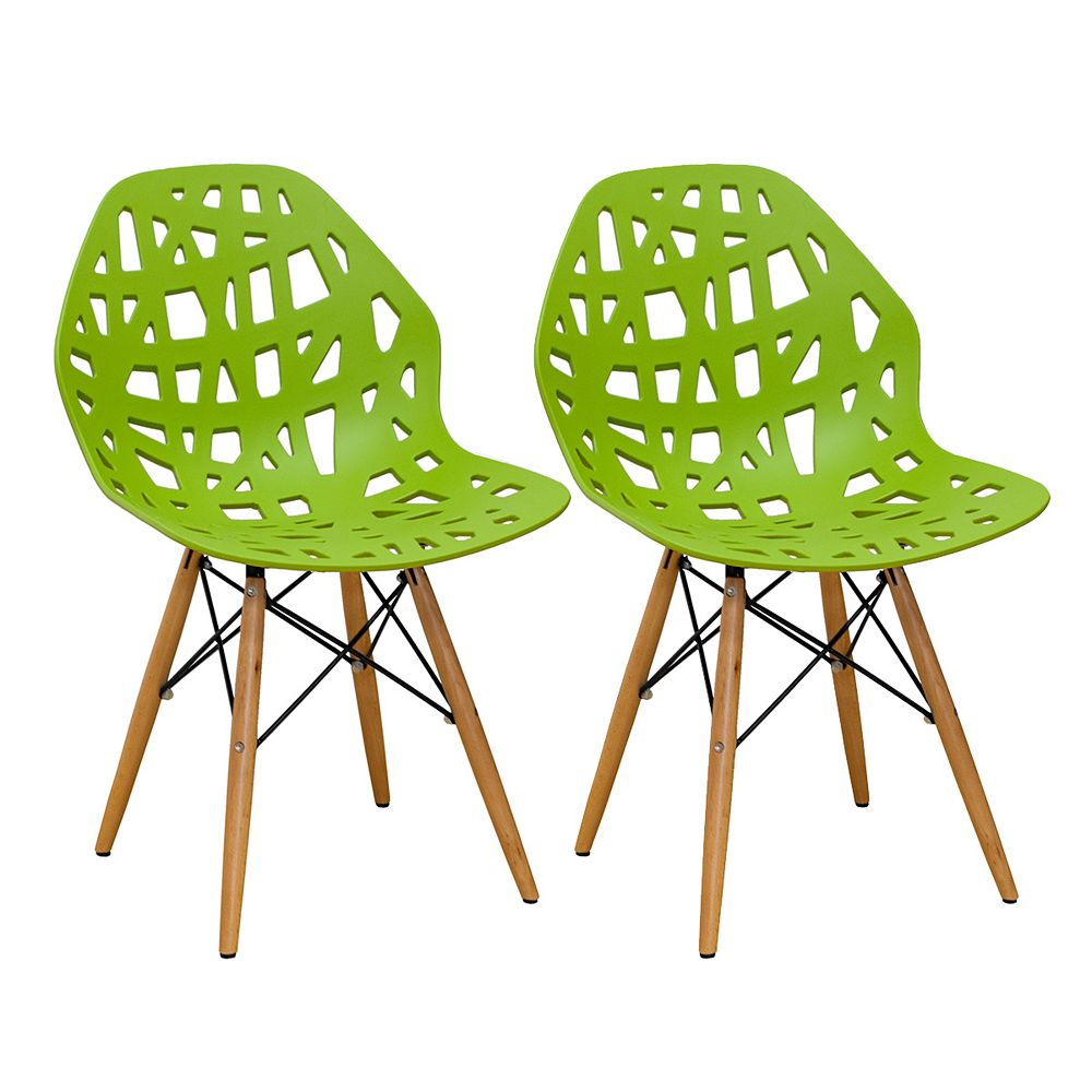 Mod Made Stencil Cut Out Eiffel Side Chair (Set of 2) Lime