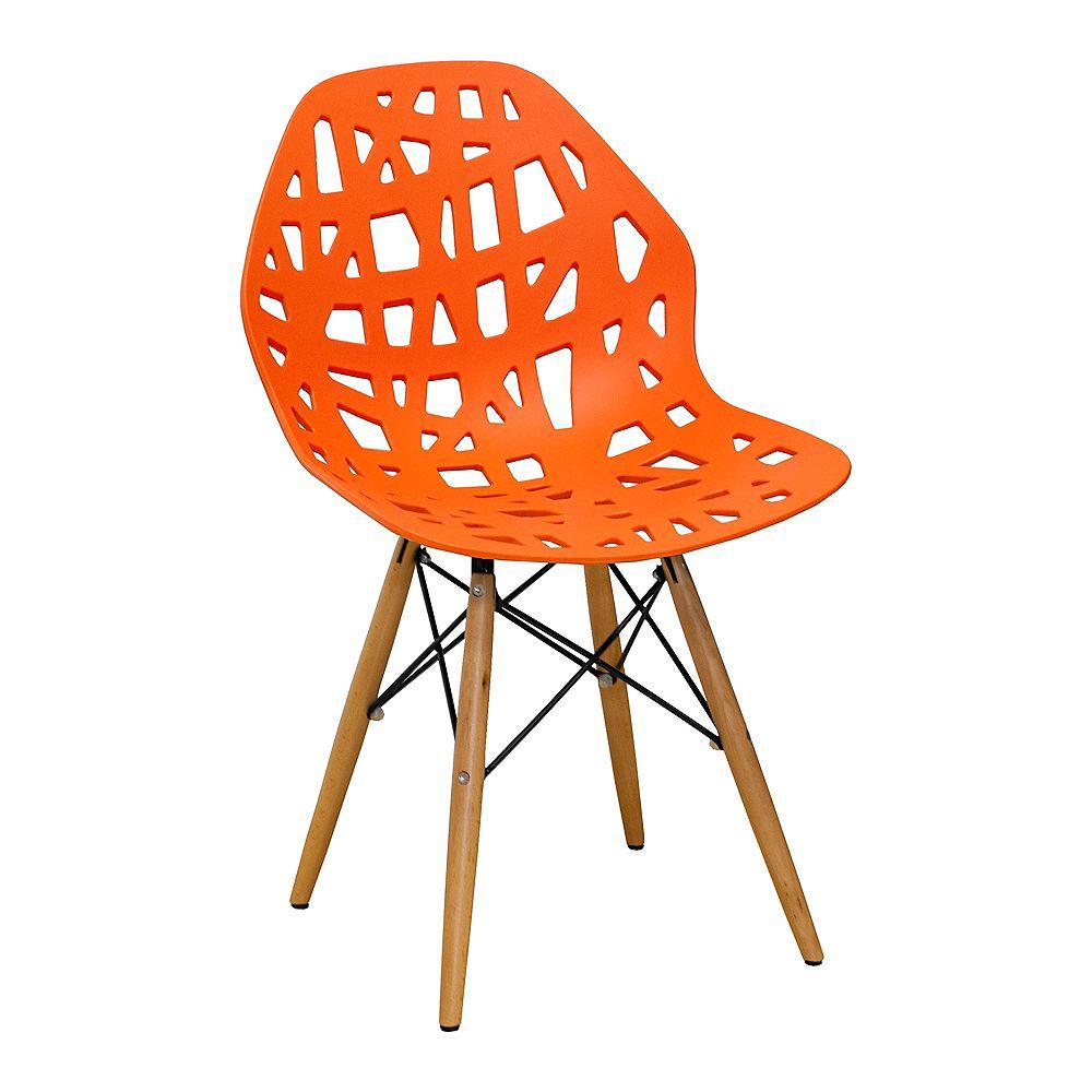 Mod Made Stencil Cut Out Eiffel Side Chair (Set of 2) Orange