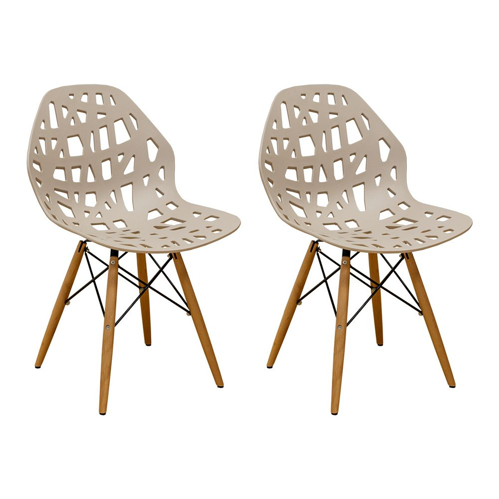 Mod Made Stencil Cut Out Eiffel Side Chair (Set of 2) Taupe