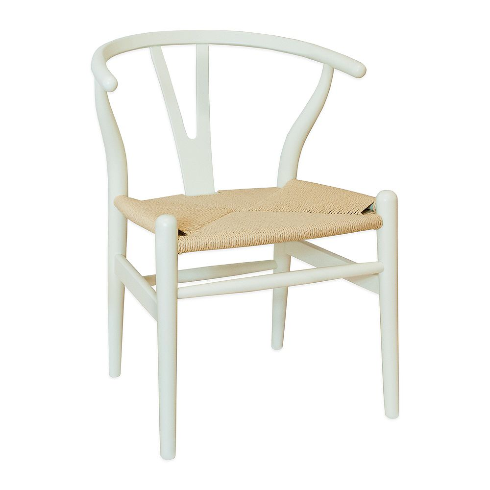 Mod Made W Chair Ivory Frame and Natural Rattan