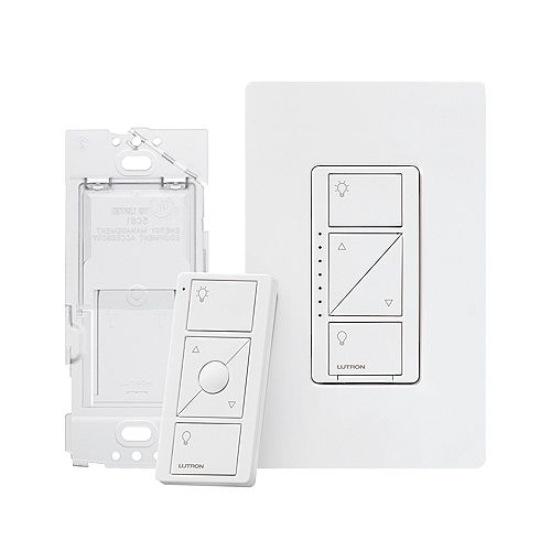 Caseta 3-Way Wireless Smart Dimmer Switch Kit with Remote Control and Wall Mount (2 Points of Control) in White