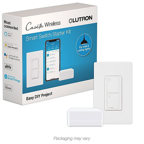 Caseta Smart Switch Kit with Remote-3-Way Voice, Wireless Pico Remote, Wall Switch with Geofencing (2 Points of Control) in White