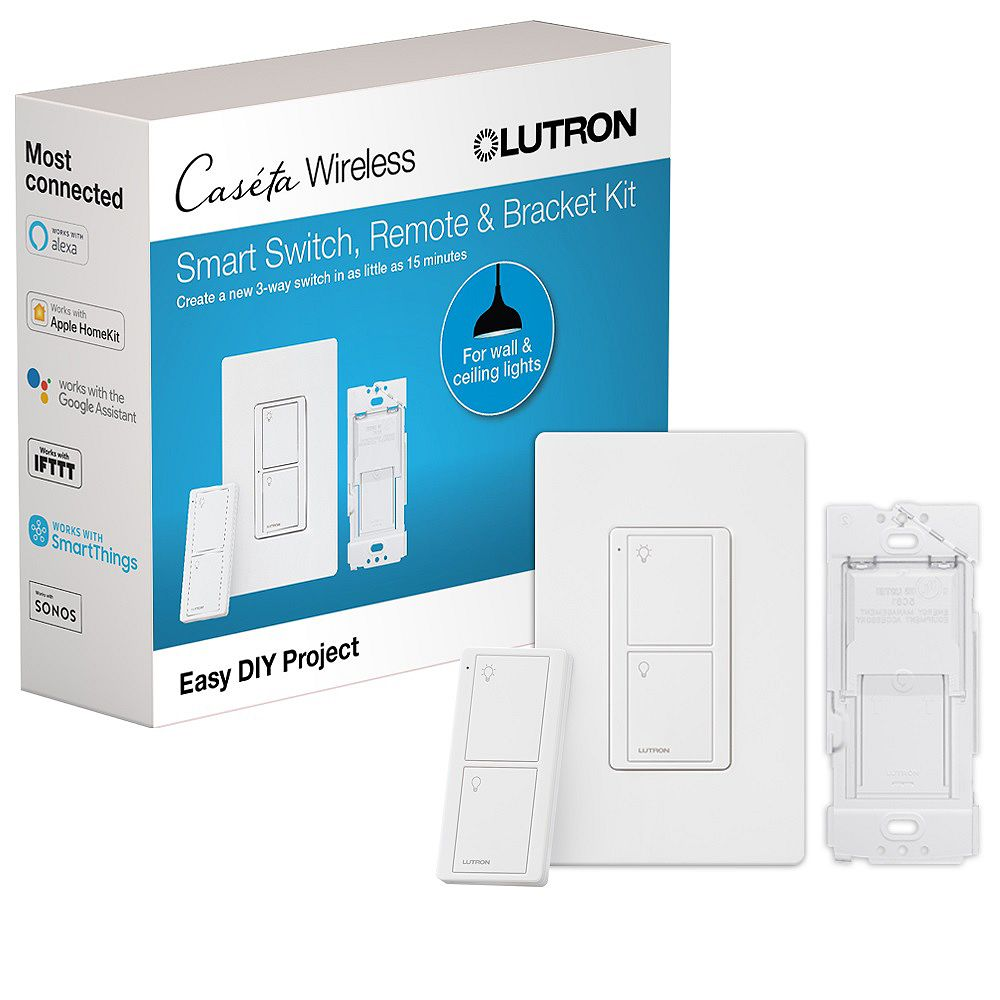 Lutron Caseta Smart Switch Kit with Remote-3-Way Voice, Wireless Pico Remote, Wall Switch with Geofencing (2 Points of Control) in White