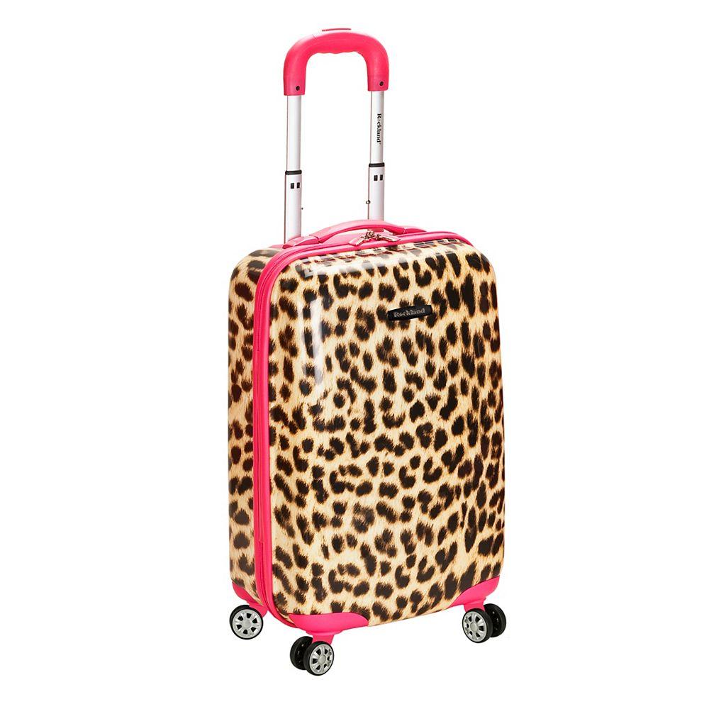 Rockland Safari 20 in. Hardside Carry-on, Pinkleopard