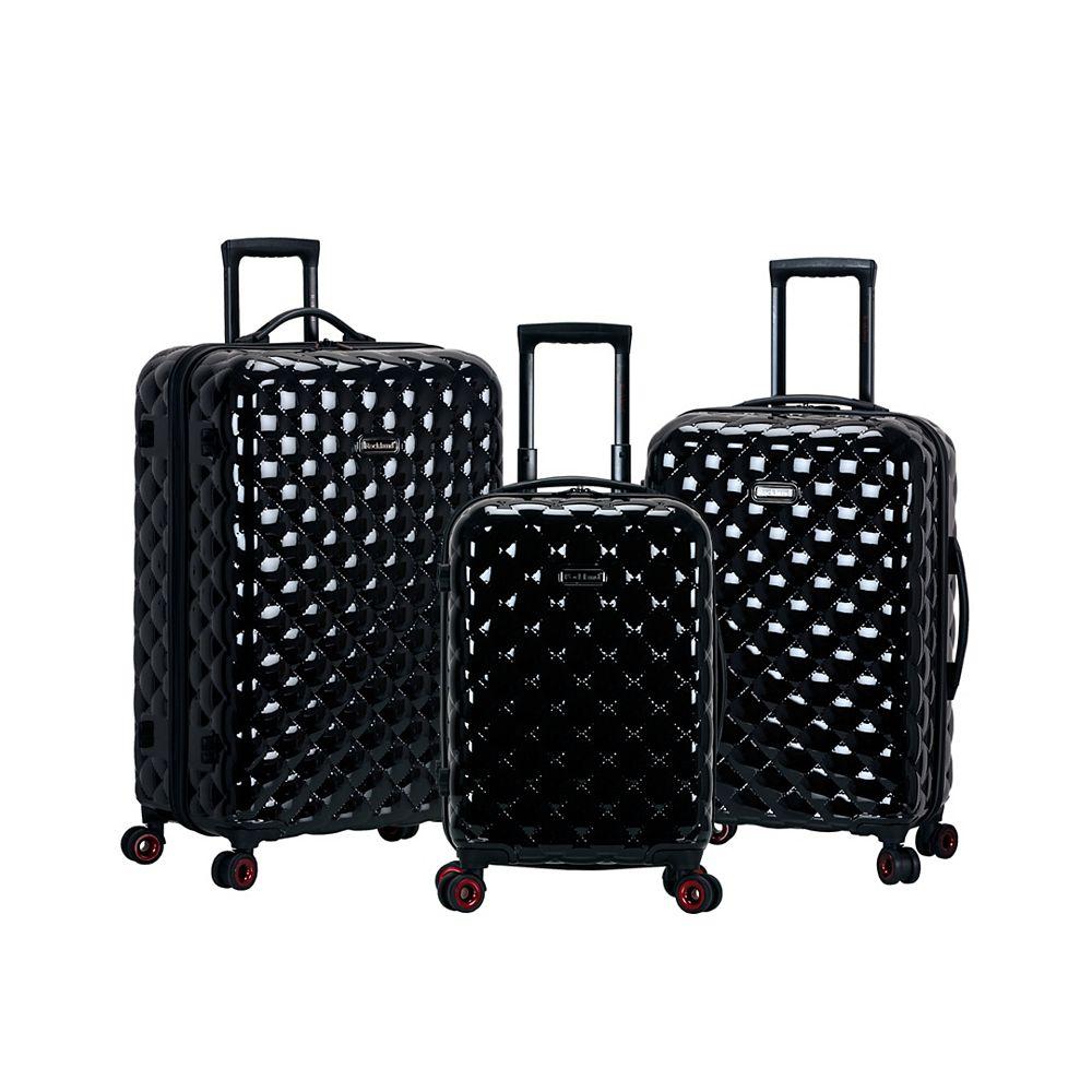 Rockland Quilt Hardside Luggage Set, Black