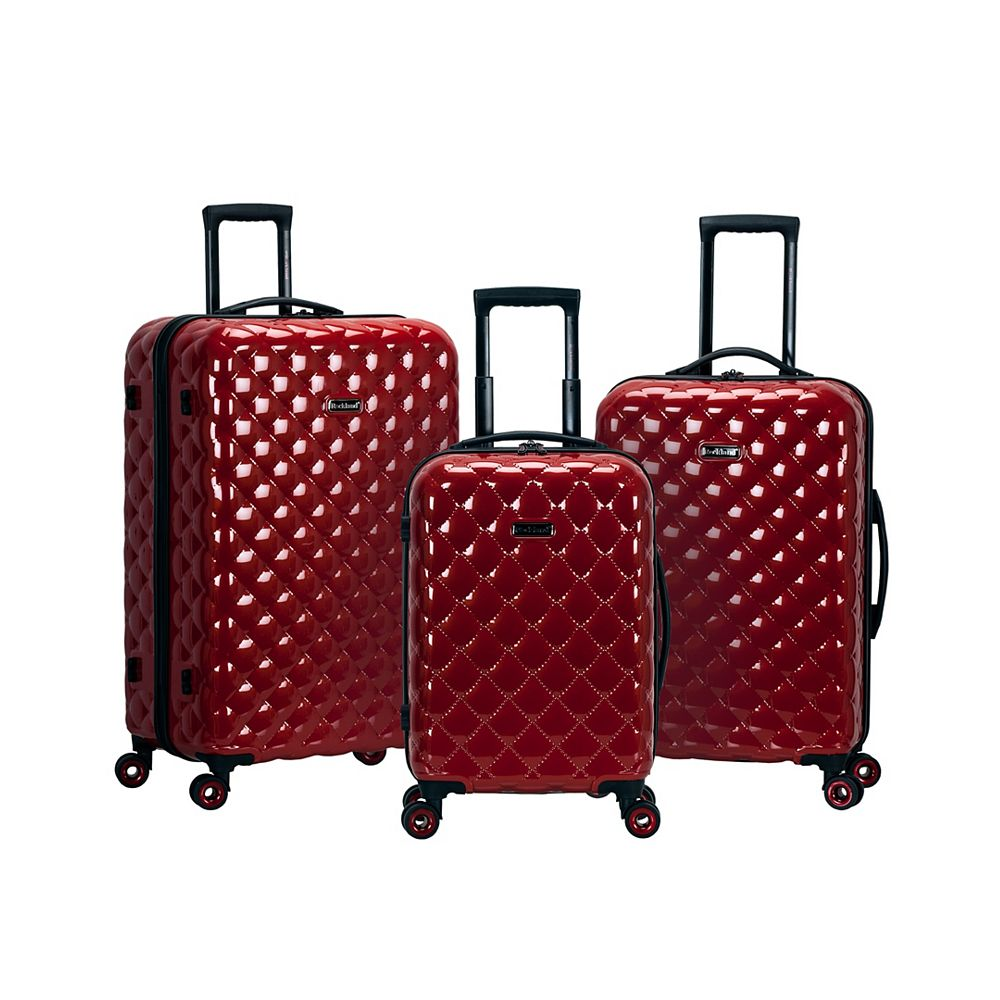 Rockland Quilt Hardside Luggage Set, Red