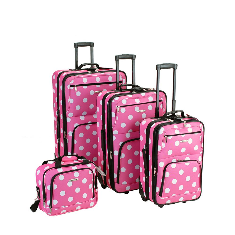 Rockland Beautiful Deluxe Softside Luggage, Pinkdot