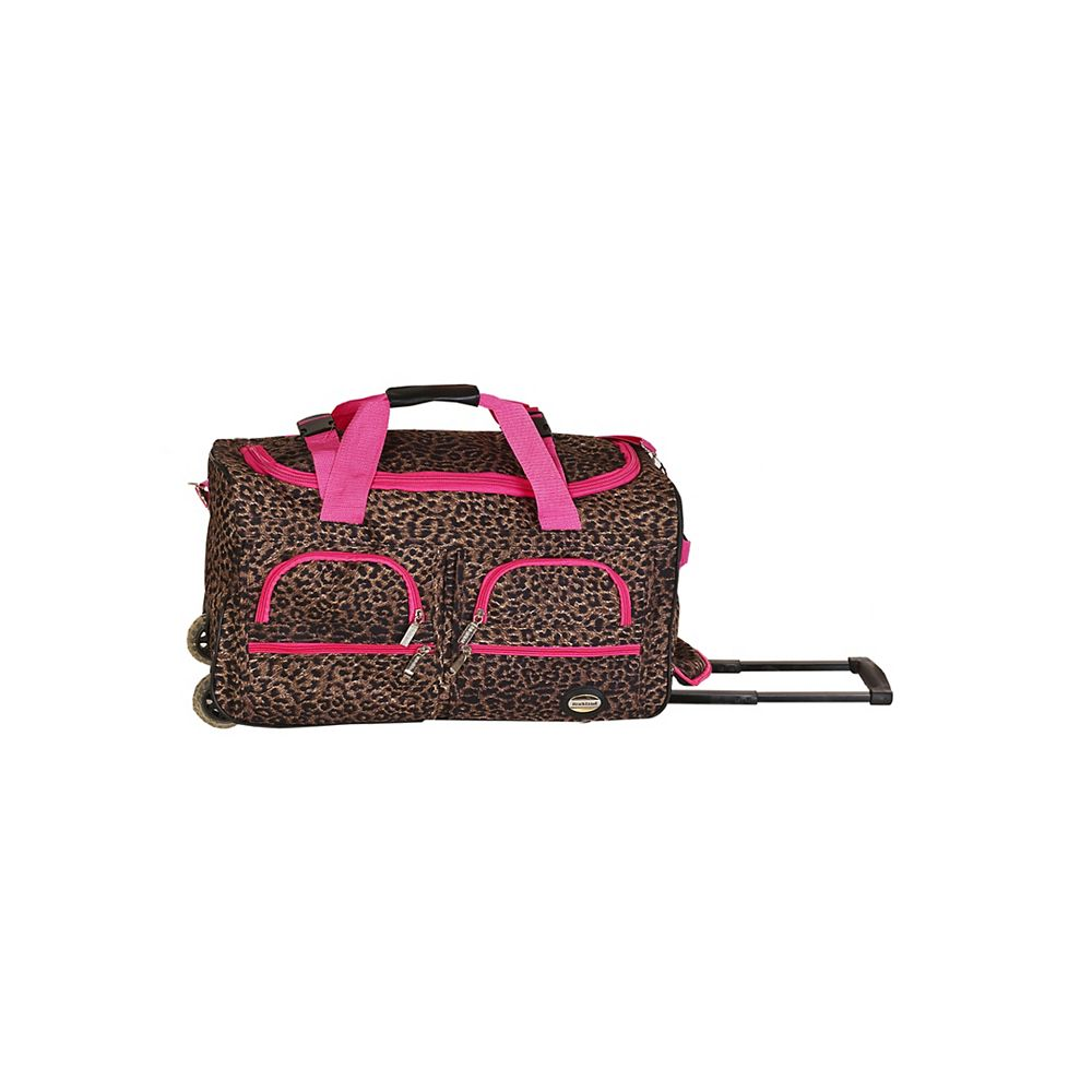 Rockland Voyage 22 in. Rolling Duffle Bag, Pinkleopard