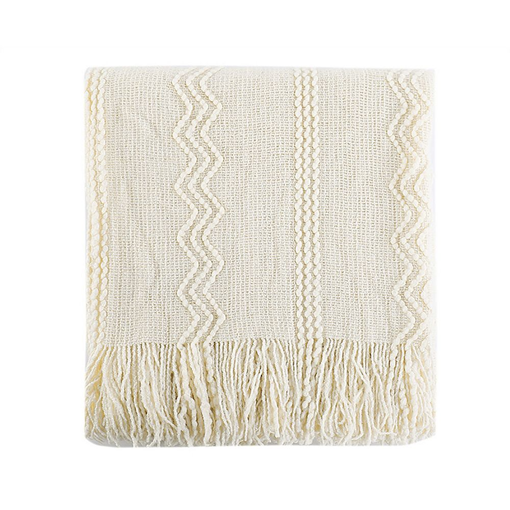"Battilo Home Intricate Woven Throw with Raised Patterns and Tasseled End, 50""x60"" Cream/White"