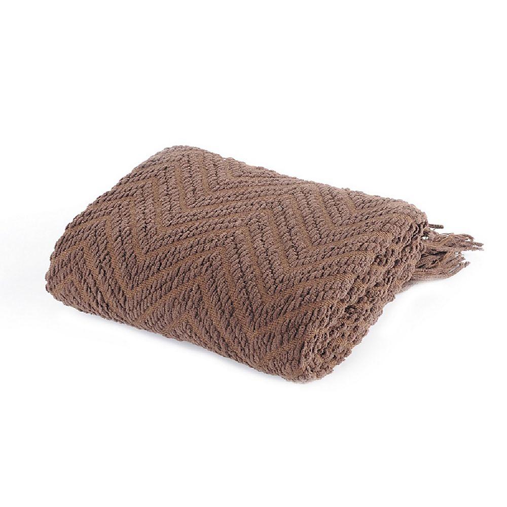 "Battilo Home Boon Knit Zig-Zag Textured Woven Throw/Blanket, Large 56""x90"", Brown"