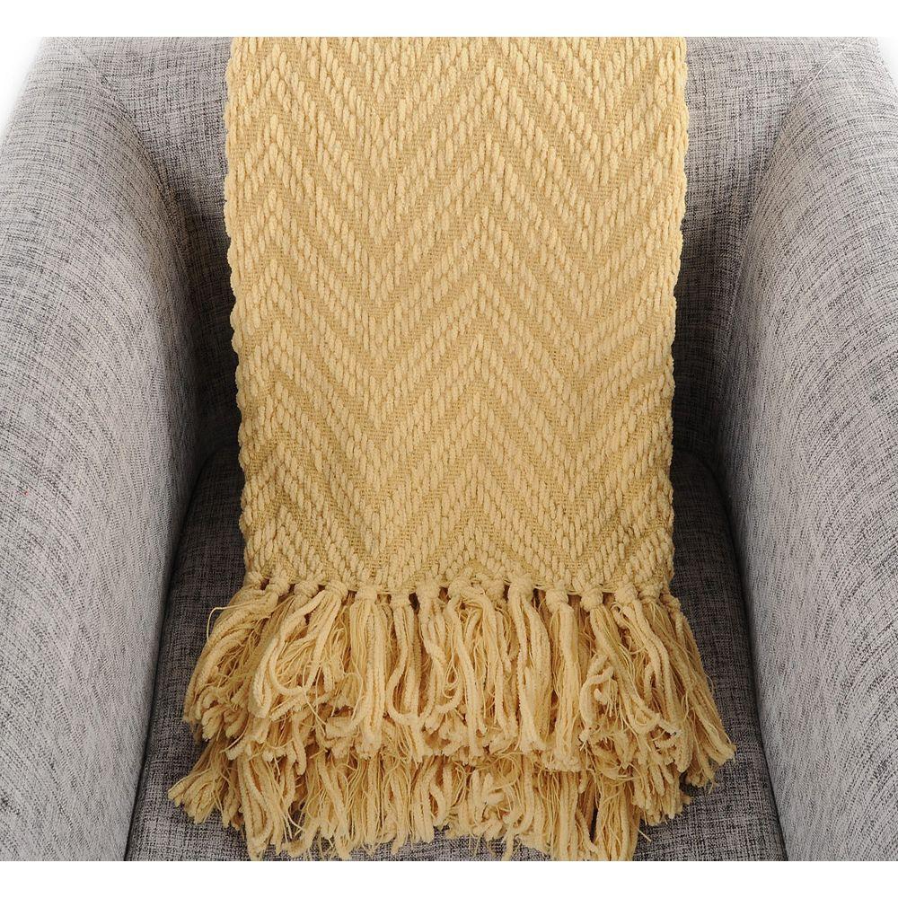 "Battilo Home Boon Knit Zig-Zag Textured Woven Throw/Blanket, 60"" x 50"" Yellow"