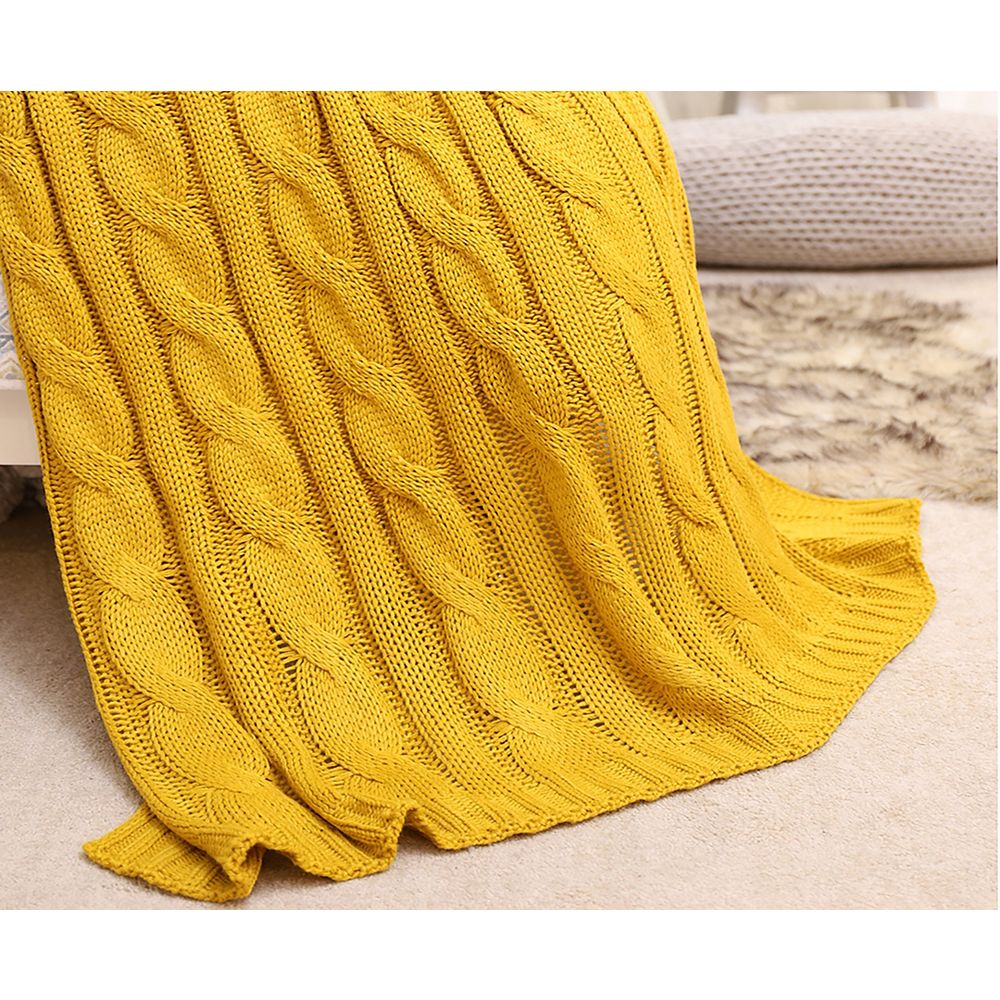 "Battilo Home Cable Knit Soft Cozy Snuggle TV Blanket, 50""x60"" Mustard"