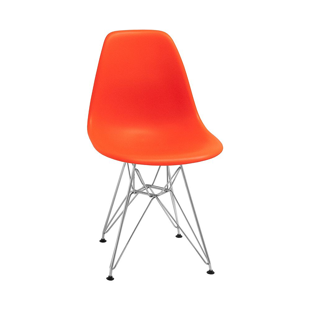 Mod Made Paris Tower Side Chair Chrome Leg 2-Pack Orange