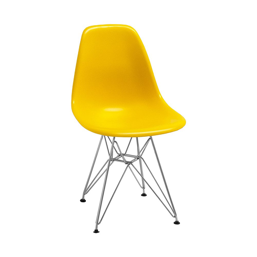 Mod Made Paris Tower Side Chair Chrome Leg 2-Pack Yellow
