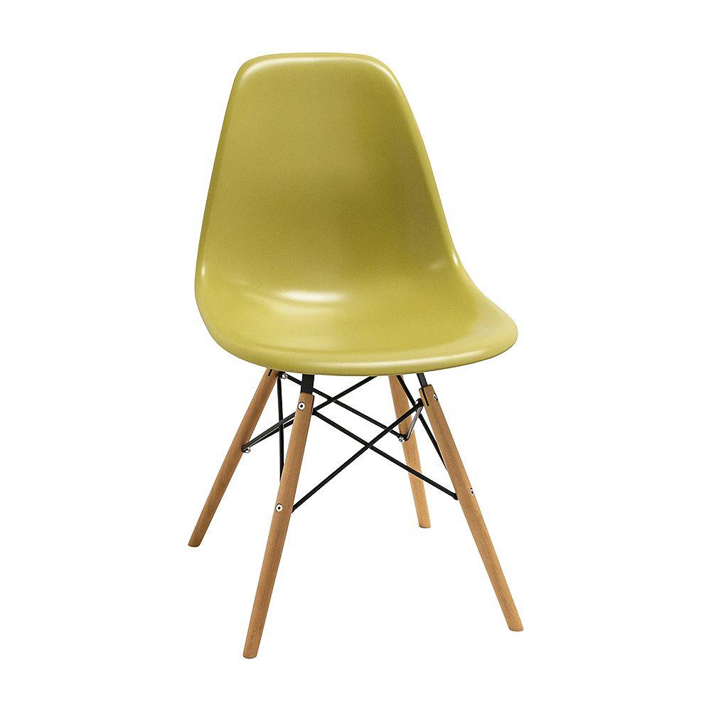 Mod Made Paris Tower Side Chair Wood Leg 2-Pack Green