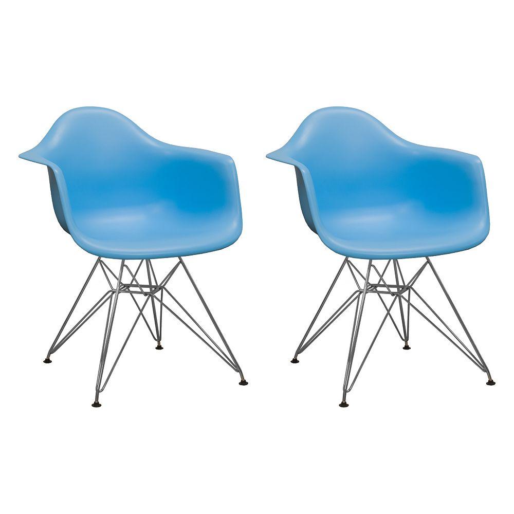 Mod Made Paris Tower Arm Chair Chrome Leg 2-Pack Blue