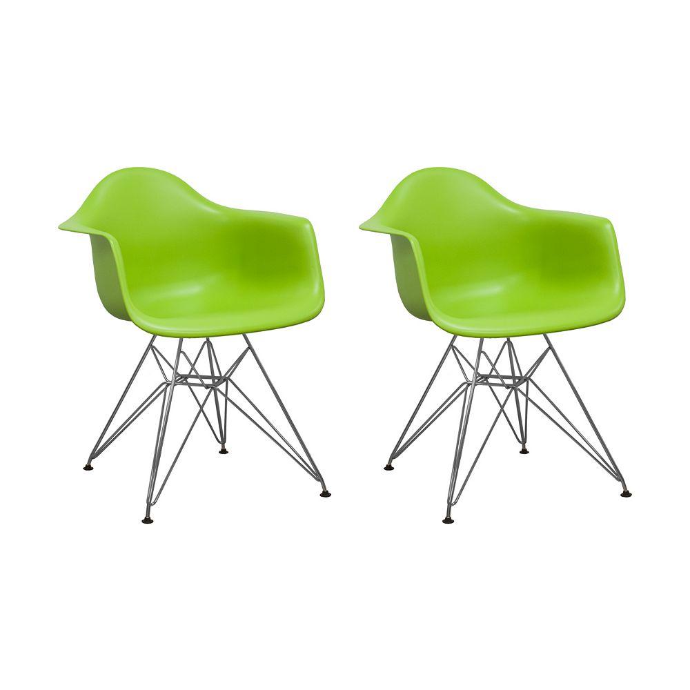 Mod Made Paris Tower Arm Chair Chrome Leg 2-Pack Green