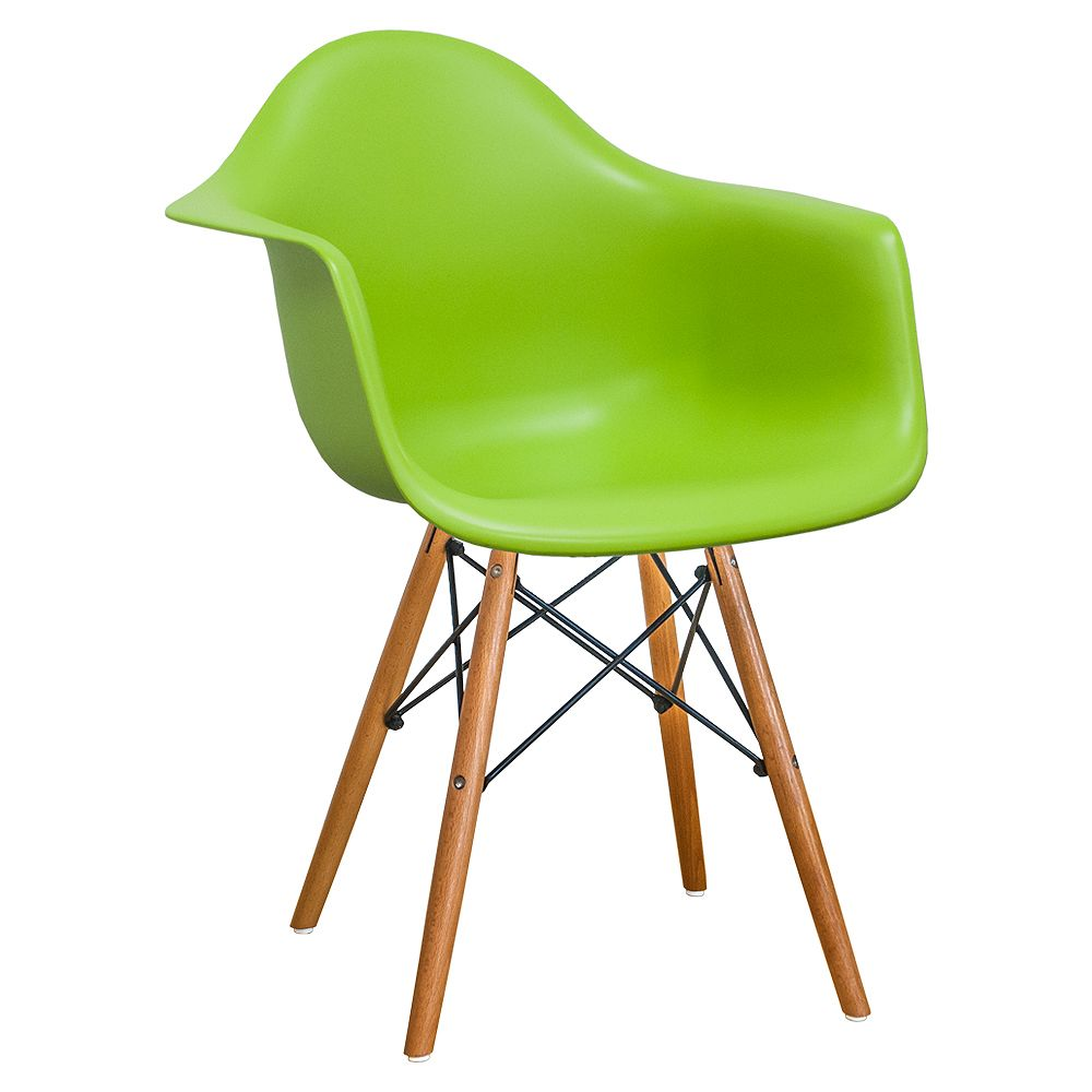 Mod Made Paris Tower Arm Chair Wood Leg 2-Pack Green