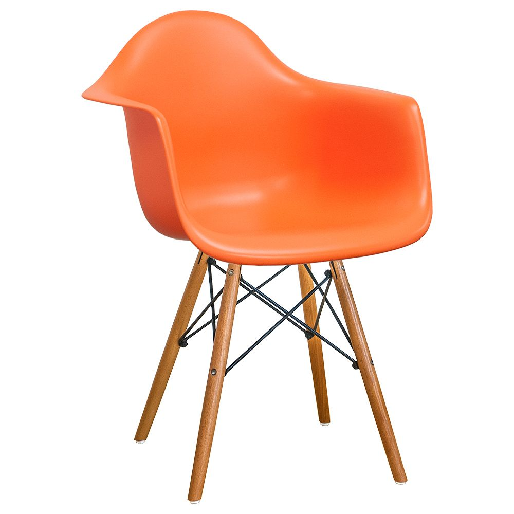 Mod Made Paris Tower Arm Chair Wood Leg 2-Pack Orange