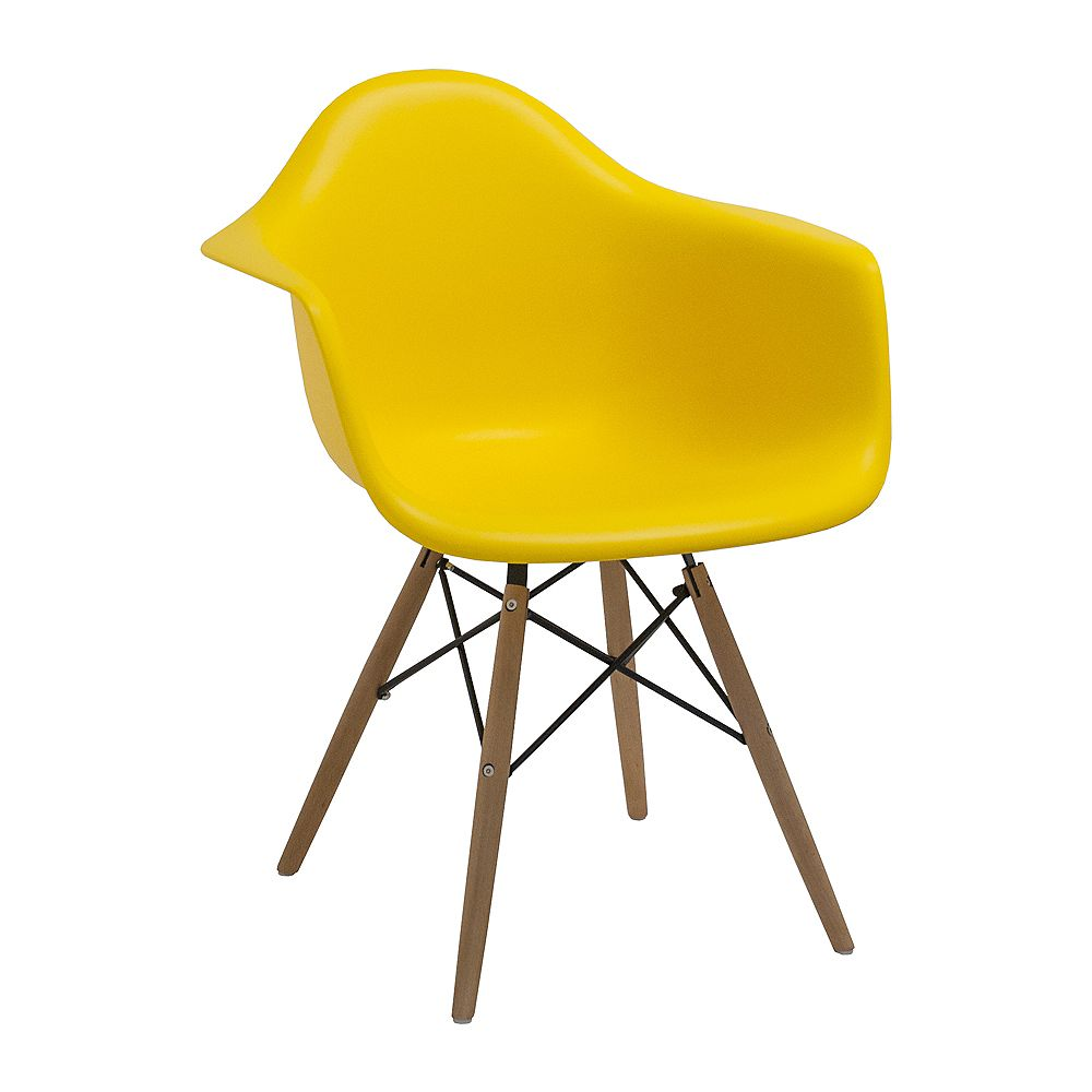 Mod Made Paris Tower Arm Chair Wood Leg 2-Pack Yellow
