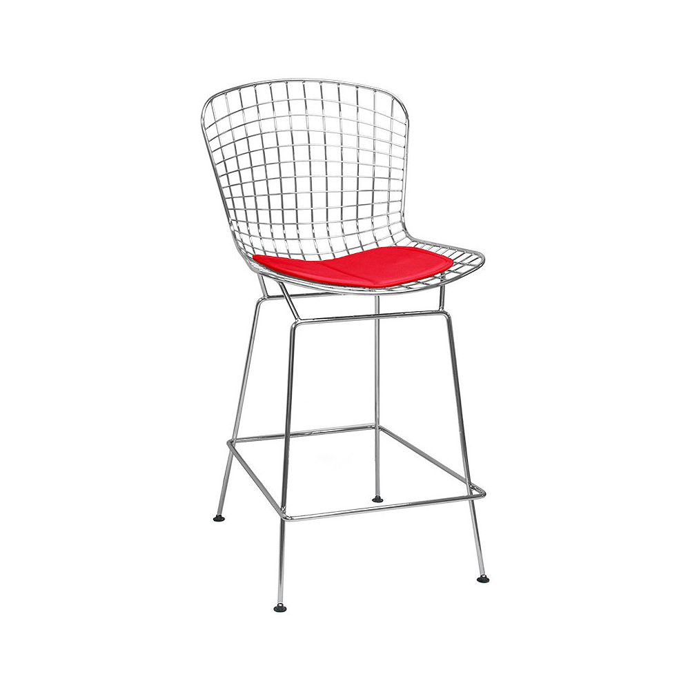 Mod Made Chrome Wire Barstool 2-Pack Red Seat Pad