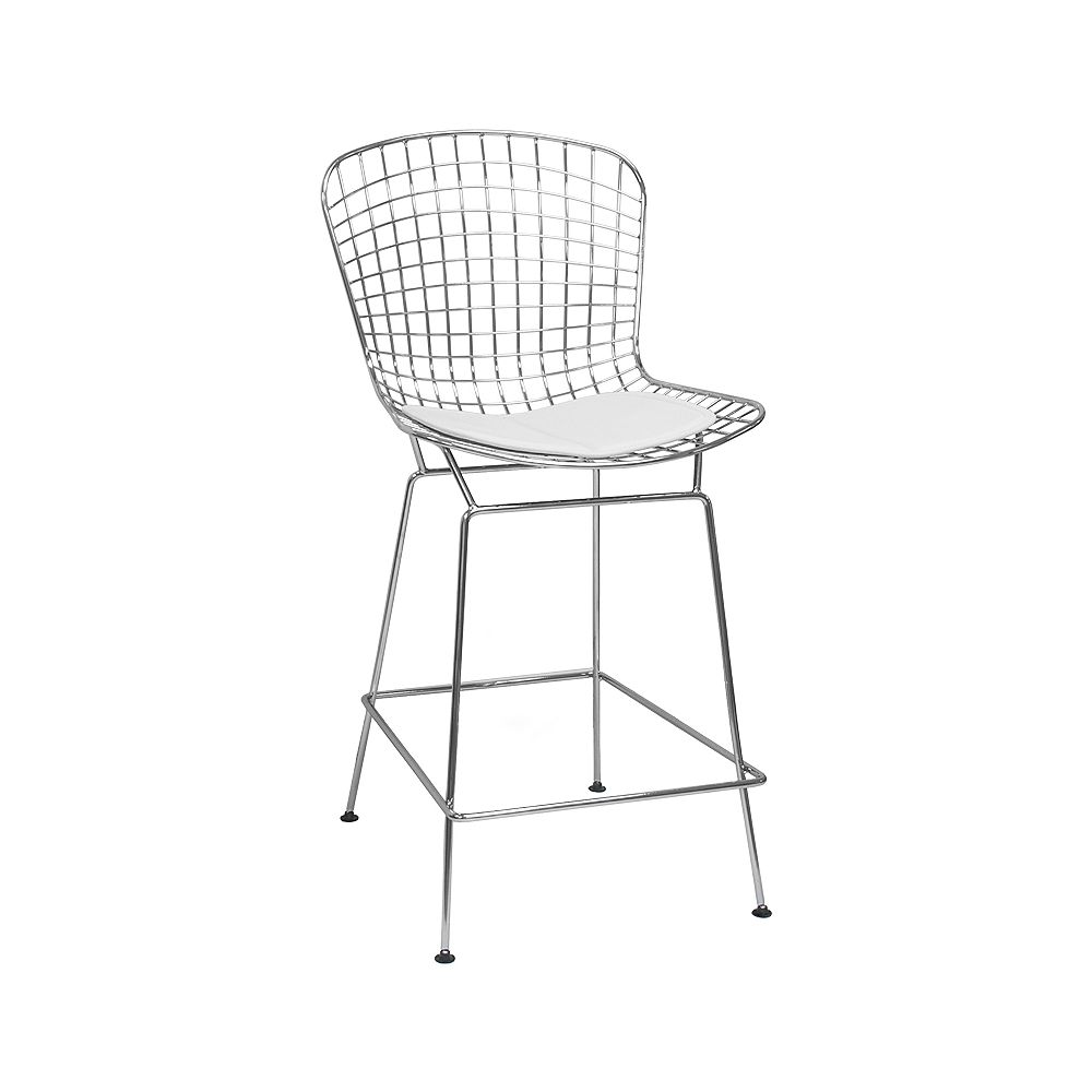 Mod Made Chrome Wire Barstool 2-Pack White Seat Pad