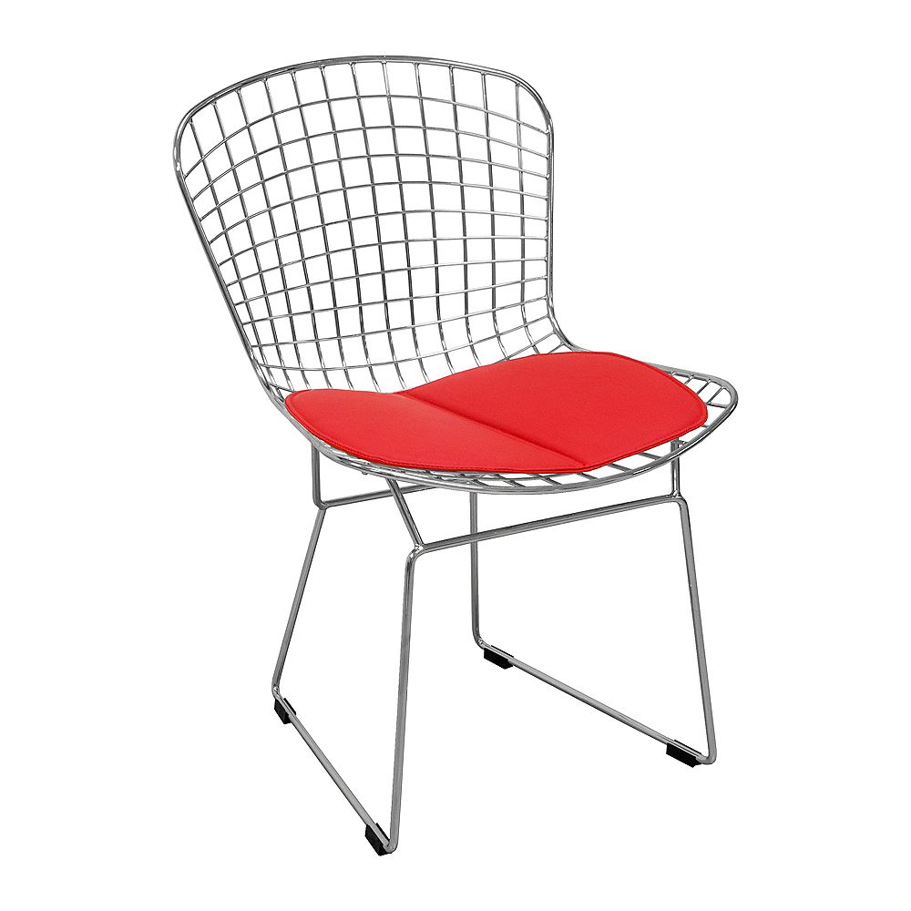 Mod Made Chrome Wire Chair 2-Pack Red Seat Pad