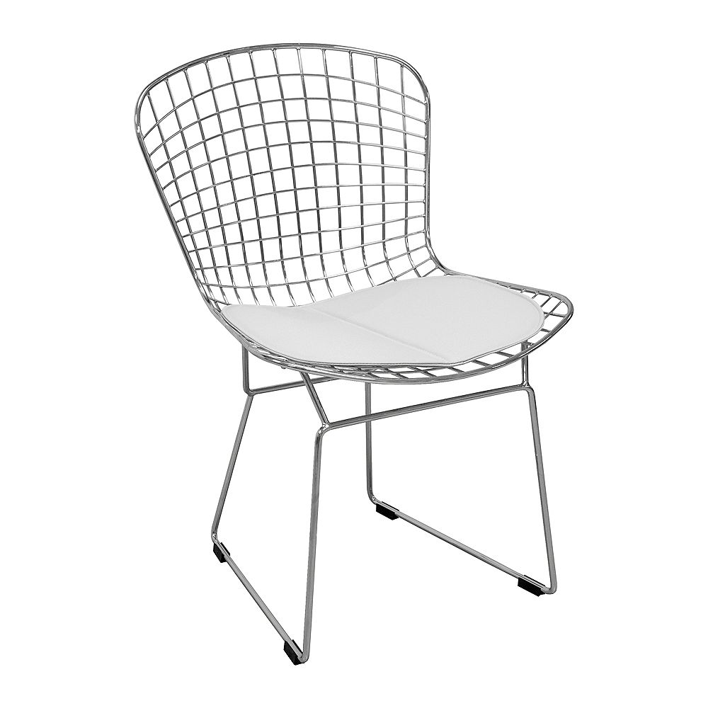 Mod Made Chrome Wire Chair With White Seat Pad