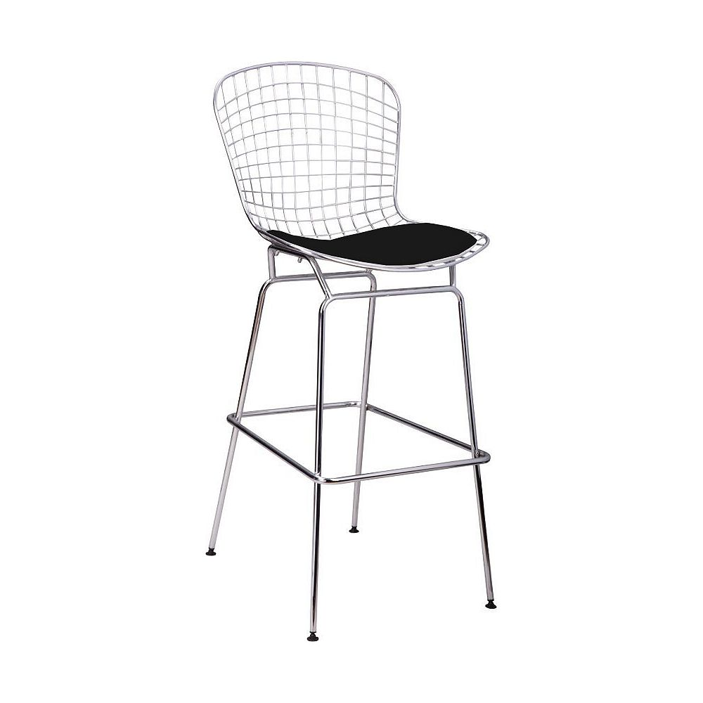 Mod Made Chrome Wire Barstool 4-Pack Black Seat Pad