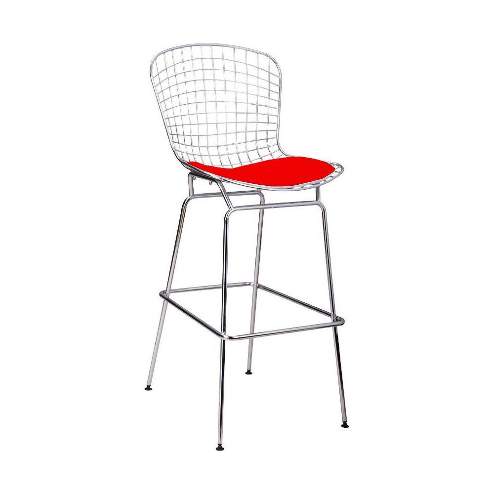 Mod Made Chrome Wire Barstool 4-Pack Red Seat Pad